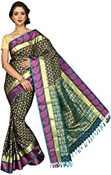 Evila Women's Raw Silk Saree (RSE-203, Black)