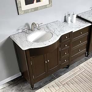 58 Bathroom Sink Vanity White Marble Top Cabinet 902wlm