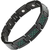 Nouveauté Bracelet Aimanté homme en titane noir et Incrustations de fibre carbone verte, Ustensile ajusteur inclus