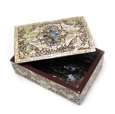 Mother of pearl lacquer wooden jewellery box, wood keepsake case, handmade gift red butterfly