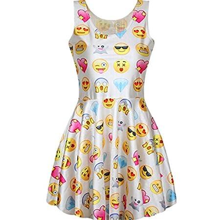 Summer Pleated Knee-length Print Pattern Reversible Skater Dress