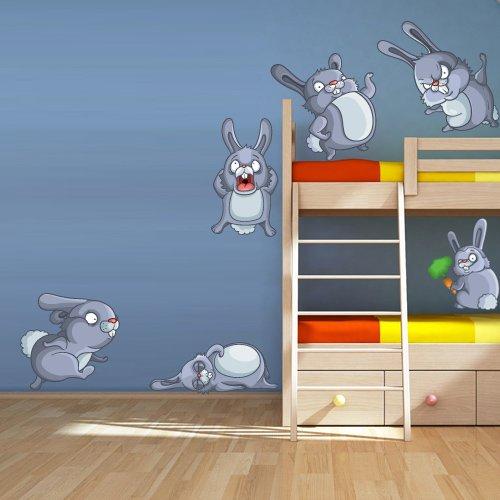 Full Color Wall Vinyl Sticker Decals Decor Art Bedroom Design Mural Kids Nursery Cartoon Hare Cony Bunny Rabbits Coney Set Animal (Col74) front-926722