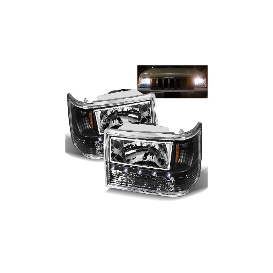 93 98 Jeep Grand Cherokee Black Headlights 1PC Automotive
