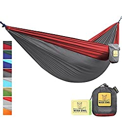FLASH SALE The Ultimate Single Double Camping Hammocks- The Best Quality Camp Gear For Backpacking Camping Survival Travel- Portable Lightweight Parachute Nylon Ropes and Carabiners Included SO Charcoal Grey & Crimson Red SingleOwl