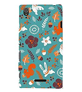 Rabbit Flowers Grass Cute Fashion 3D Hard Polycarbonate Designer Back Case Cover for Sony Xperia T3