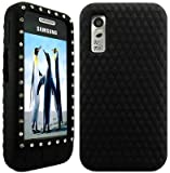 Wayzon Black Samsung Tocco Lite S5230 Case Cover Skin Pouch Silica Rubber With Diamonds Studded In
