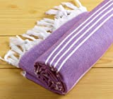 Turkish Towel Peshtemal for Hamam Bathrobe Spa Pool Massage Sauna Beach Yacht Gym Fitness Kitchen Yoga Baby Towel Picnic Blanket 100% Cotton Table Throw Sarong Unisex Purple