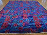 9 x 12 HAND KNOTTED MODERN BLUE PURPLE & RED SARI SILK IKAT ORIENTAL RUG G21041