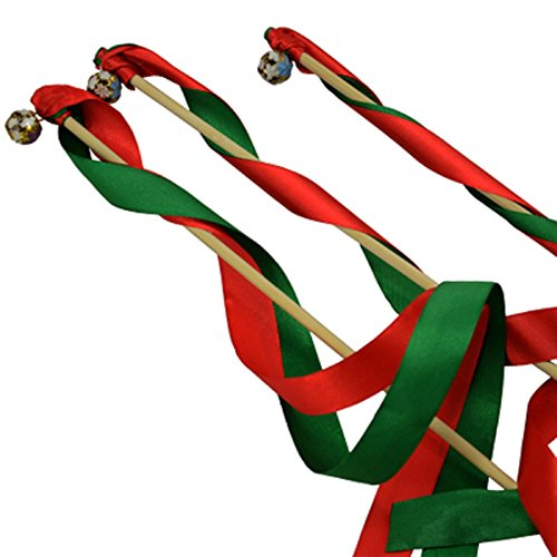Hangnuo Pack of 30 Wedding Christmas Birthday Party Silk Lace Ribbon With Bells Streamers Wands Fairy Stick Red&Green (Bell And Streamers compare prices)