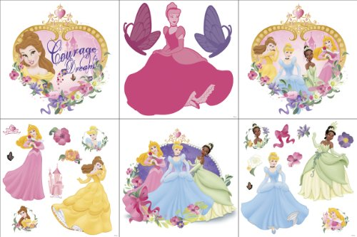 Blue Mountain Wallcoverings 31420650 Princess and Pearls Self-Stick Wall Decorating Kit