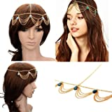 HYL New Fashion Metal Head Band Gold Tone Jewelry Headpiece Chain Hairband Headband