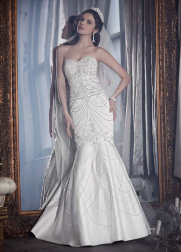 LUXE By David's Bridal Fit-and-Flare Sweetheart Wedding Dress with Allover...