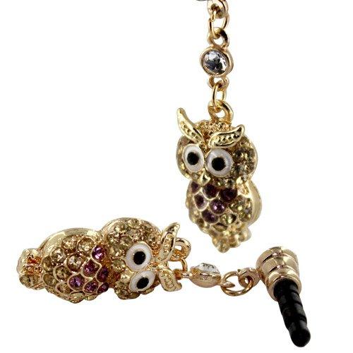 Skque® Sumsung Galaxy S5 3.5Mm Bling Rhinestone Golden Lovable Owl Earphone Anti Dust Jack Plug, Purple