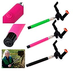 5star Selfie ® Bluetooth Wireless Pink Selfie Stick, Adjustable Telescopic Extendable Monopod, Compatible with Apple, Android Phones & Compact Cameras