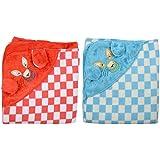 Brandonn Fleece Baby Blanket - Pack Of 2 (bn100+bn103, Blue And Red)