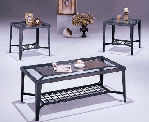 Coffee Table End Table Set Black Wrought Iron VF AM7558 Coffee