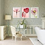Ey-slimming Pink Narcissus Floral Framed Canvas Print Set of 3 canvas wall art