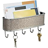 InterDesign Wall Mount Mail and Key Rack, Metallico/ Grey