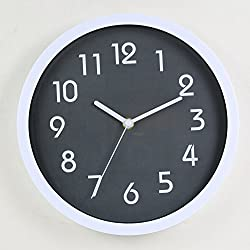 HITO™ Modern Colorful Silent Non-ticking Wall Clock- 10 Inches (Gray)