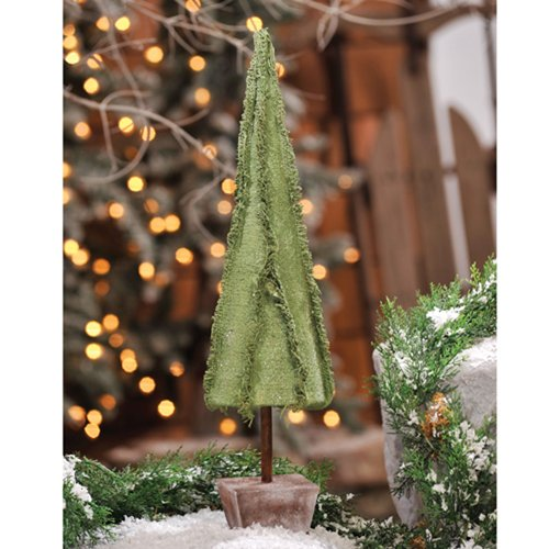 Prelit Art Christmas Trees - Medium Green Burlap Tabletop Cone Tree