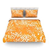 "Kess InHouse Iris Lehnhardt ""Twigs Silhouette Orange"" Tangerine King Cotton Duvet Cover, 88 by 104-Inch"