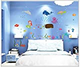 Asmi collection PVC Wall Stickers Wall Decals Octopus Fish in Sea for Kids Room