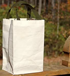 Turtlecreek Cotton Canvas Reusable Gift Grocery Tote Bags - Small Size - Two Pack