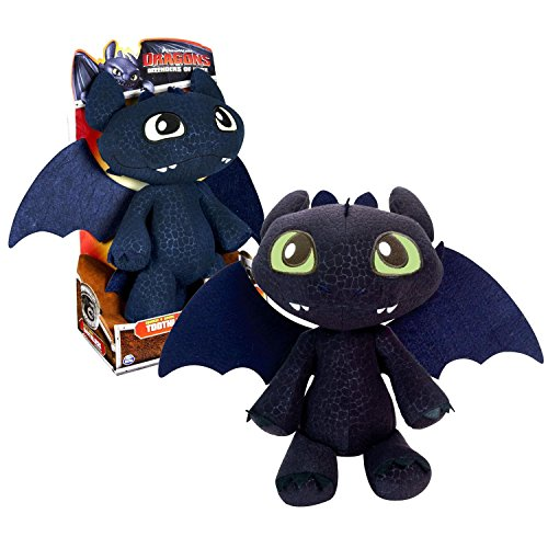 """Spin Master Year 2013 Dreamworks Movie Series """"Dragons - Defenders Of Berk"""" 12 Inch Tall Electronic Dragon Plush Figure - Squeeze And Growl Toothless With Growling Sound"""
