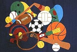 5X7 Rug Balls Sport American Basketball Football Baseball Hockey 51\
