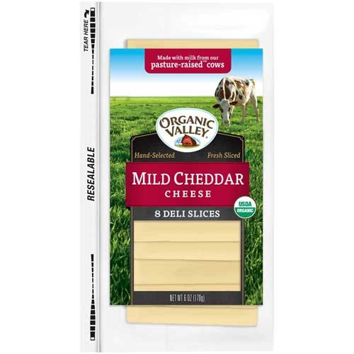 Organic Valley Slice Mild Cheddar Cheese, 6 Ounce -- 12 per case. (Cheddar Cheese Slices compare prices)