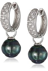 Tahitian Cultured Pearl and White Topaz Drop Hoop Earrings