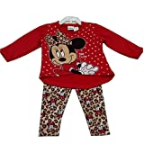 Disney Baby Girls Red Minnie Mouse Leopard Spot Print 2 Pc Pant Set 12-24M
