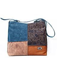 KOZA Women's Crossbody Bag Dark Blue Base With Die-less Design And Tan/brown Combination KZ160527