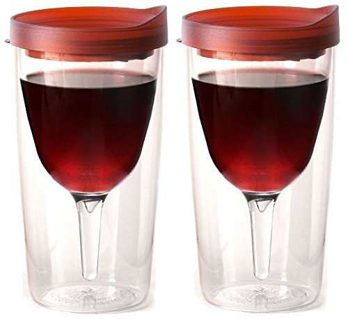 Vino2Go Double Wall Insulated Acrylic Wine Tumbler with Merlot Slide Top Drink Lid 10 oz. Set of 2