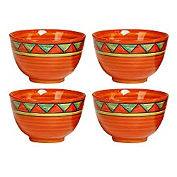 Katori Dessert Bowl Ceramic/Stoneware in Orange Triangle (Set of 4) Handmade By Caffeine