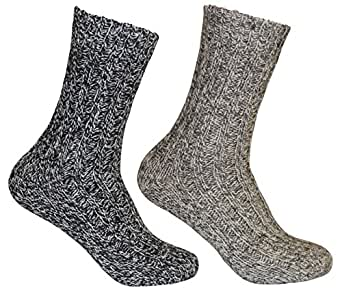 Tobeni 4 Pairs of super soft Norwegian Socks with sheep´s wool, Color:Shades of gray;Size:UK 2-5 / EU 35-38