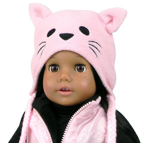 18 Inch Doll Hat w/Tassels, Animal Hat Fits 18 Inch American Girl Dolls & More! Doll Clothing Pink Fleece Kitty Cat Doll Animal Hat - 1