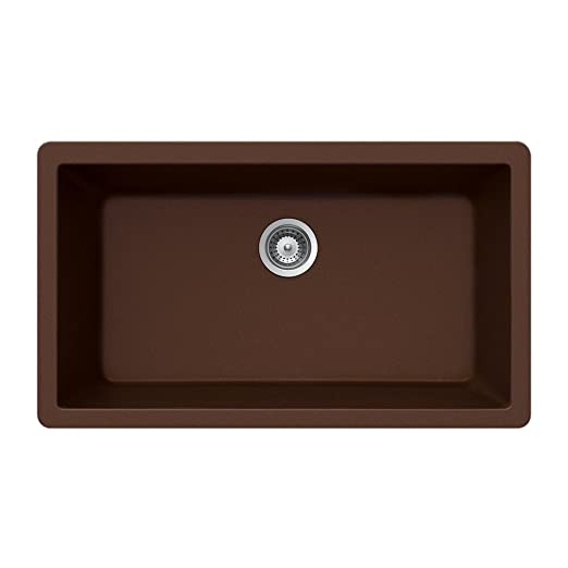 Houzer V-100U EARTH Quartztone Series Granite Undermount Large Single Bowl Kitchen Sink, Brown