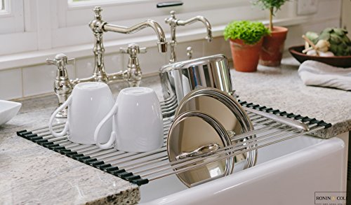 Ronin & Cole's Over the Sink Multipurpose Rollable Dish Drying Rack (Black - Brushed Nickel) (Over The Sink Tray compare prices)