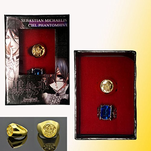 Black Butler Kuroshitsuji Ciel Phantomhive Cosplay Blue Golden Crystal Couples 2 Ring - 1