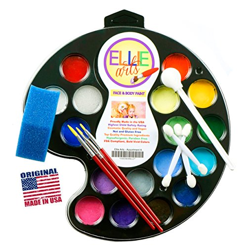 Face Painting kit for kids Ellie Arts 16 color Palette for the Professional or Beginner All the Supplies You Need 3 Brushes 2 Sponges & 4 Applicators. Paints 160 smiling faces. Perfect for Halloween (Your Baby Can Read Deluxe compare prices)