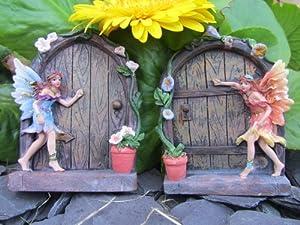 Set of 2 sparkle fairy door garden home ornament amazon for Amazon uk fairy doors