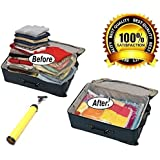 Jumbo Vacuum Space saver Storage bags. [BONUS] Free travel Vacuum hand pump. Jumbo size, excellent for long term storage or saving extra space while traveling. Pack of 6 By Ecogreen Storage