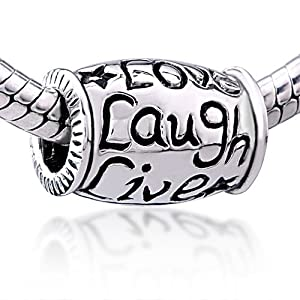 Pugster Live Love Laugh Bead Fits Pandora Chamilia Biagi Beads