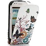 Mobile24 Etui à Rabat Vertical pour Samsung Galaxy S3 Mini I8190, Housse, Fermeture aimantée - Papillons / Cercles