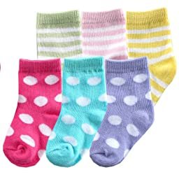 6pk Fun Stripe Combo Socks, Pink, 0-6 months