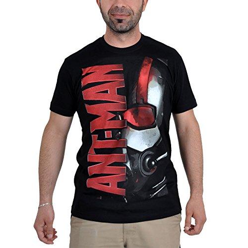 Ant-Man Showdown Marvel - Maglietta di cotone supereroi, logo, con licenza ufficiale, nero - L