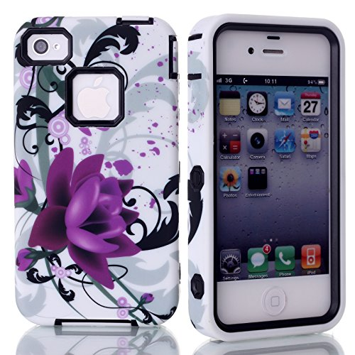 Rosepark(Tm) Hybrid Pc + Tpu Purple Flower Pattern Tuff Dual Layer Armor Cover Case For Apple Iphone 4 4S(Black),With Screen Protector, Stylus Pen And Cleaning Cloth