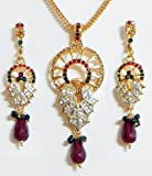 DollsofIndia Red, Green with White Stone Studded Pendant with Chain and Earrings - Stone and Metal - Golden