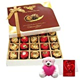 Valentine Chocholik Premium Gifts - Intense Collection Of Wrapped Chocolates With Teddy And Love Card